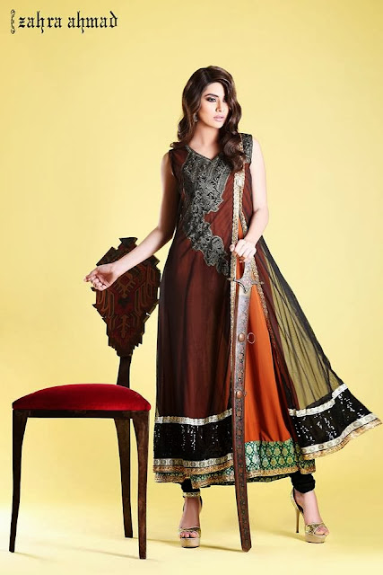 Zahra Ahmad Fancy Winter Party Outfits 2013-2014 For Girls By Fashion She9