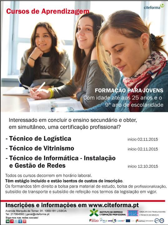 Cursos subsidiados para jovens com o 9º ano – Lisboa (Outubro / Novembro / 2015)