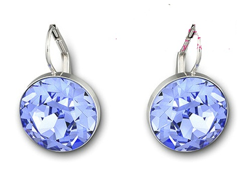 Bella Piercing Earrings Silver Decorative Edging Color Mosaic Of Blue Crystal Shining Charming Cool Dress Fit With Any