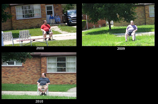 lonley guy, redford memorial day parade, lawn chair, alone, fat