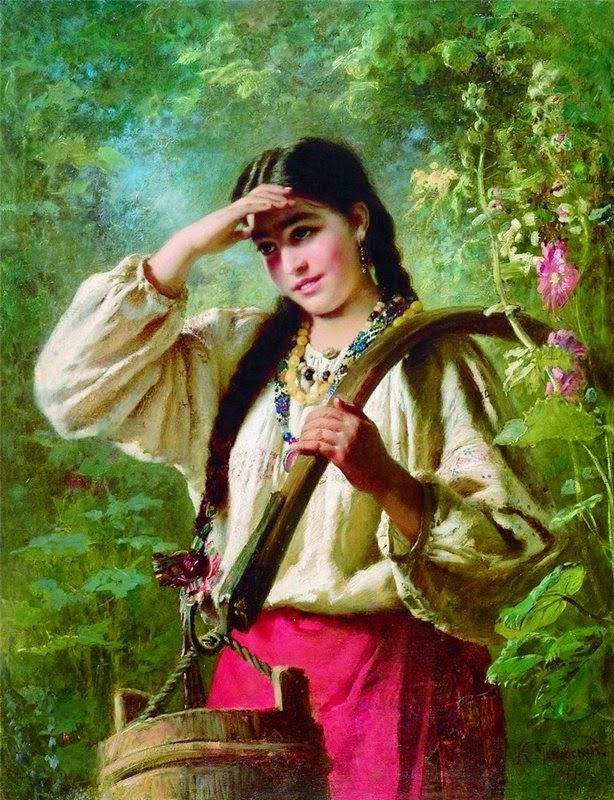 Константин Маковский. Девушка с коромыслом. 1874 г.