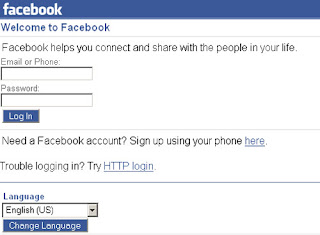 facebook mobile login page