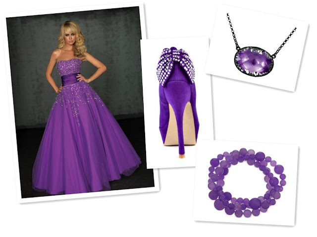 Taffeta Strapless Purple A-Line Long Prom Dress