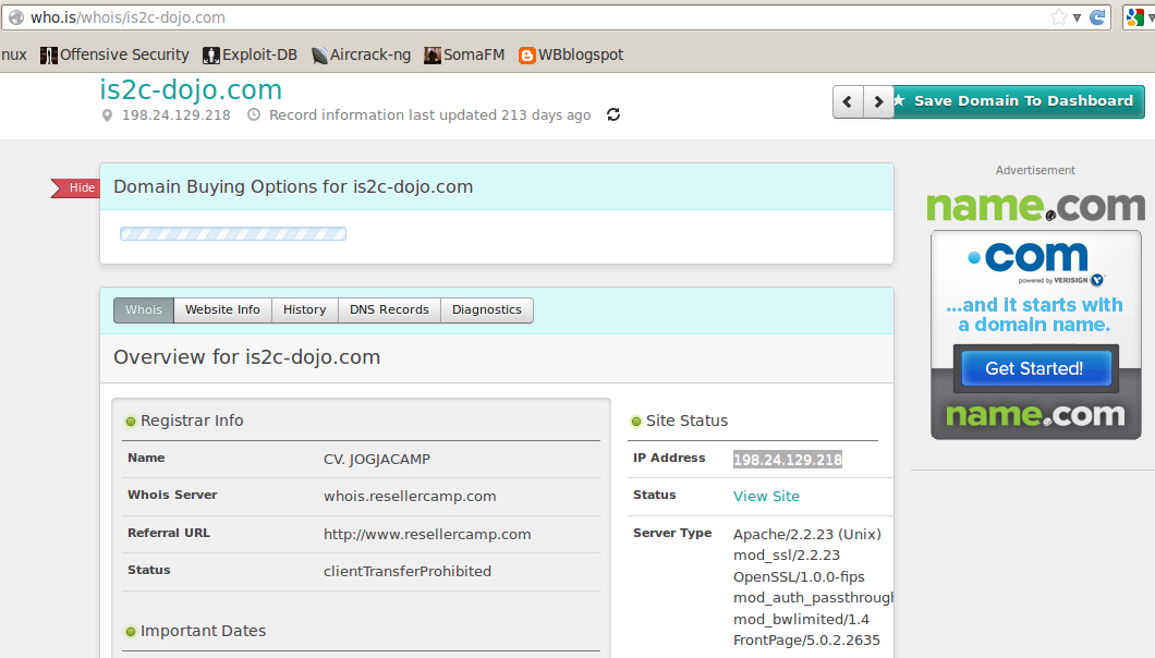 Using That Method I Got Information About Ip Address Server Type Registrar Info And Many More