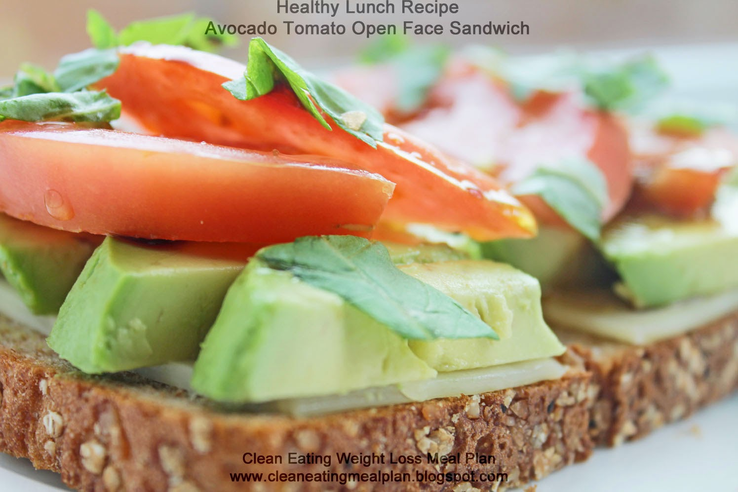Healthy Lunch Recipe Avocado Tomato Open Face Sandwich