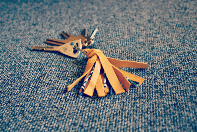 DIY Tassel Leather and Embroidery Thread Keychain