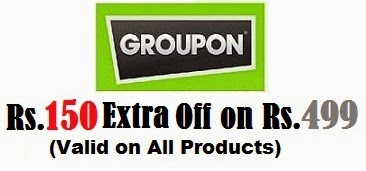 Groupon Offer: Flat Rs.150 Extra Off on Min Purchase worth Rs.499 or more across entire Site