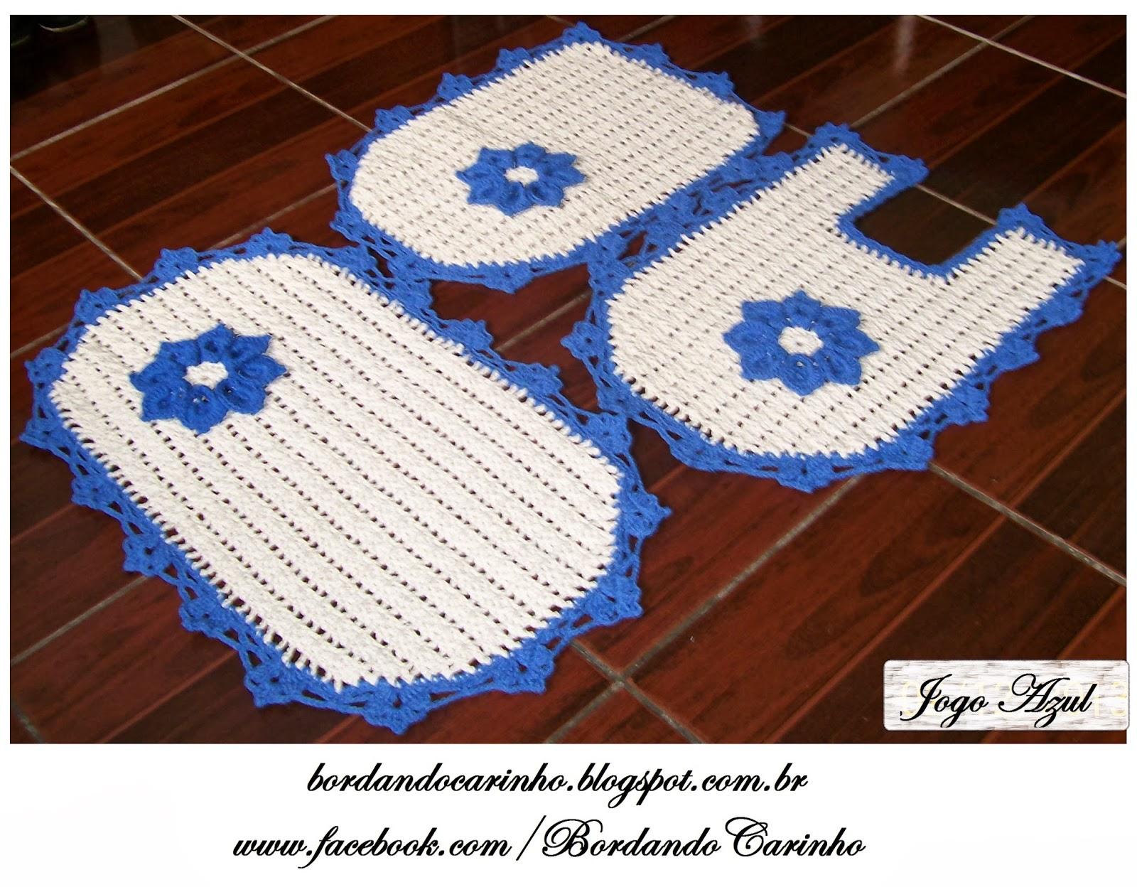 Jogo De Banheiro Azul Em Croche : Bordando carinho jogo de banheiro azul em croch? com