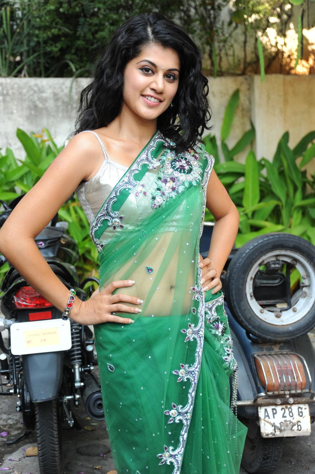 Cute tapsee in green saree