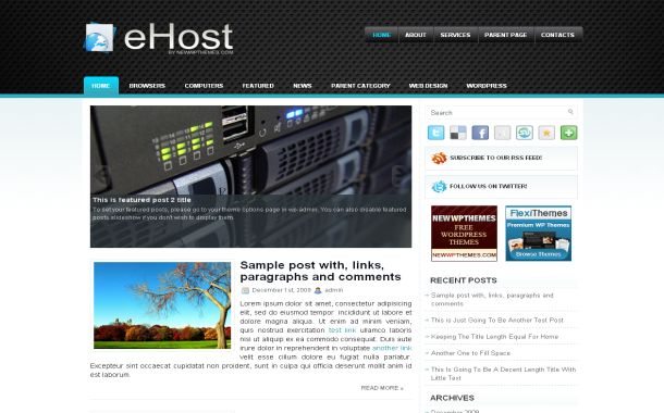 Free Jquery Black Blue Hosting Wordpress Theme