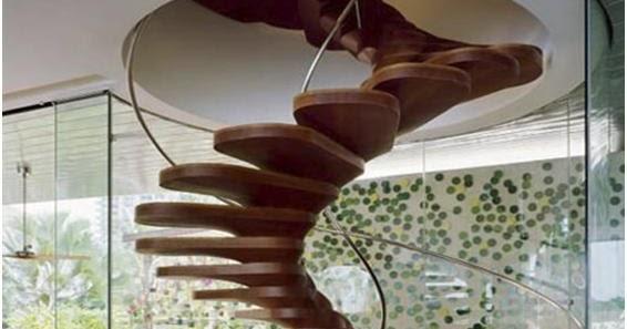 gambar tangga kayu minimalis unik untuk interior rumah