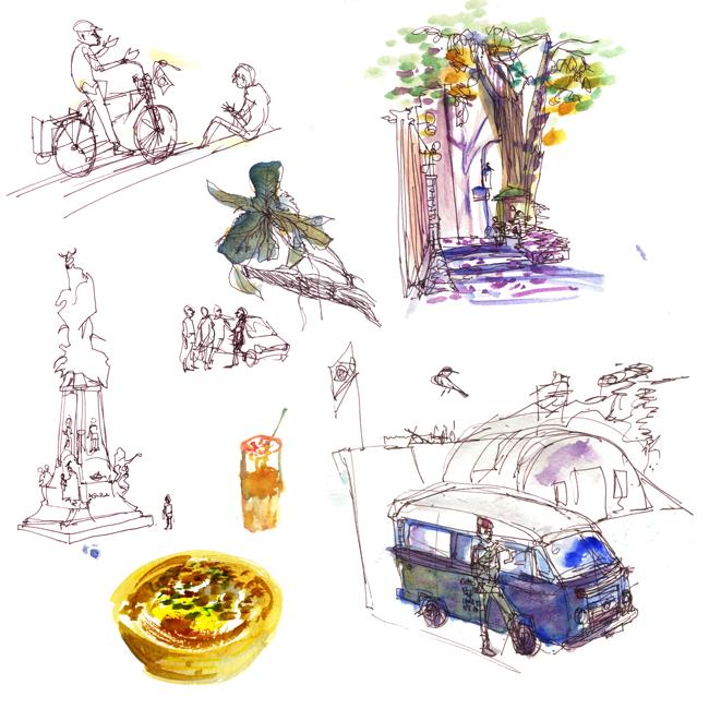 "Shiho Nakaza ""Rio de Janeiro"" Rio watercolor sketch sketching ""travel sketching"" people"