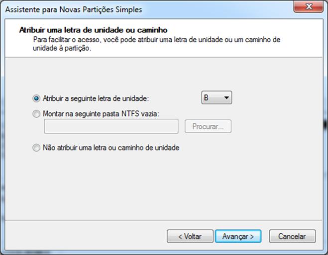 Criando Partição no windows 7