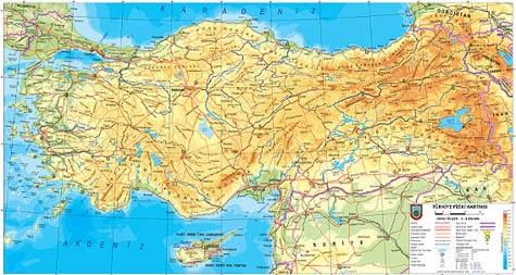 B�y�k Boyutta T�rkiye Fiziki Haritas�