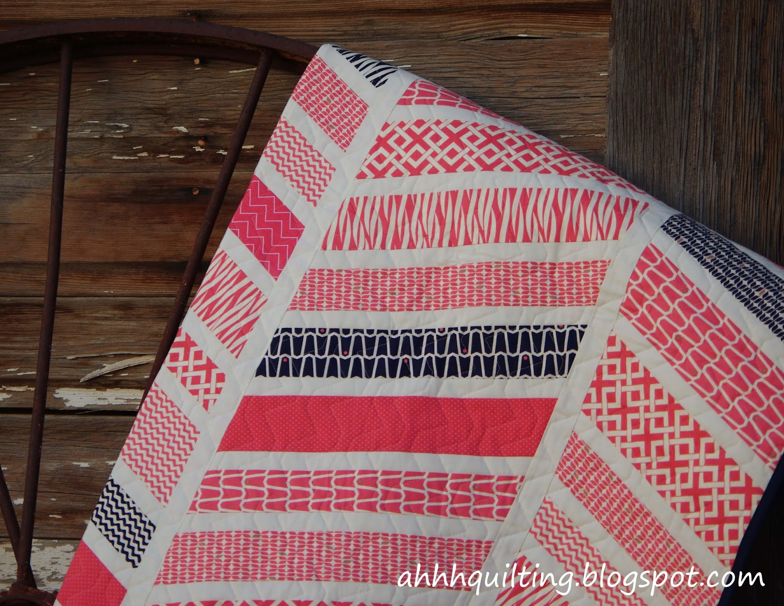 Ahhh...Quilting: Coral + Navy Herringbone Quilt : coral quilts - Adamdwight.com