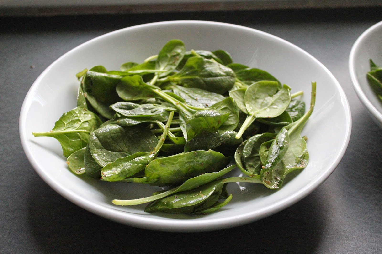 Spinach for Greek chicken and orzo bowls