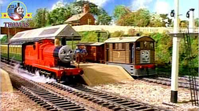 Thomas the tank engine James the red train engine in a Mess Toby and Henrietta the old rail carriage