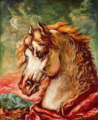 Cap de cavall blanc amb crineres al vent (Giorgio de Chirico)