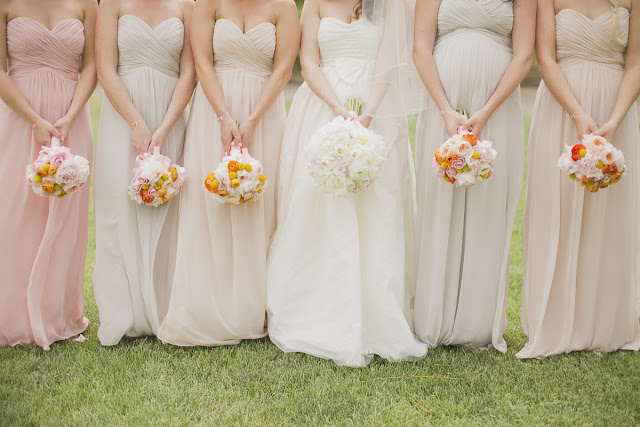 mismatched bridesmaids, burlington golf and country club wedding