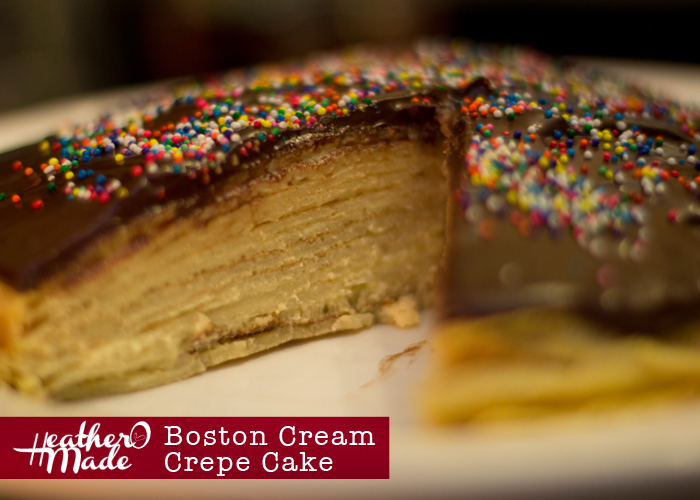 boston cream crepe cake. unique birthday cake. recipe.