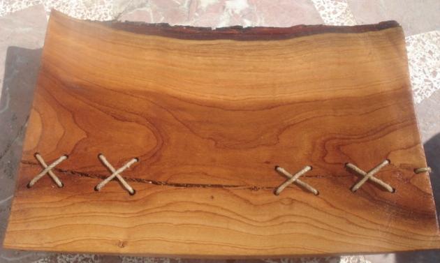 Tornero artesano en madera bandeja en madera de almendro - Bandeja de madera ...