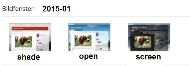 Bildfenster-Varianten 2015/01: shade, open, screen