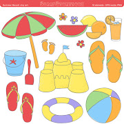 Summer and beachclip art300 dpi PNG files
