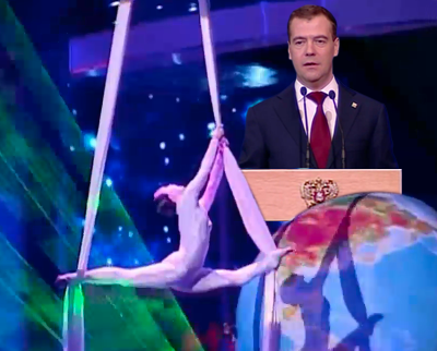 Russian President Dmitry Medvedev addresses the nation on Yuri Gagarin's day as the celebrations commence in Moscow. RSA 2011.