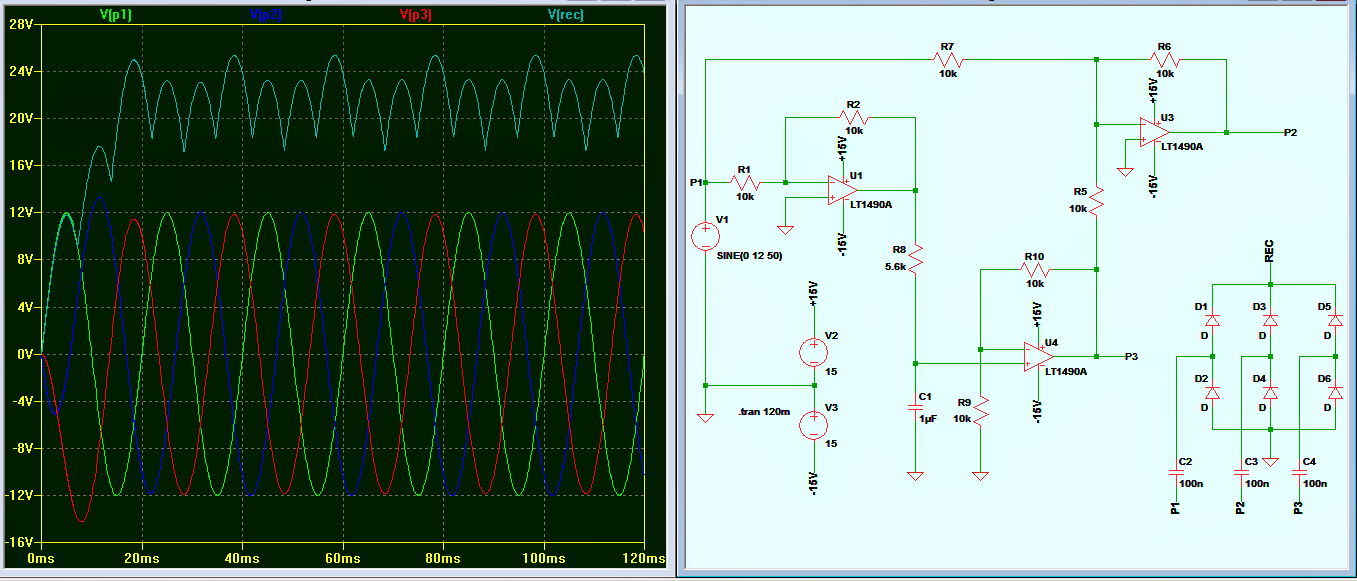 three phase signal generator circuit from a single phase source 3 phase signal generator waveform diagram