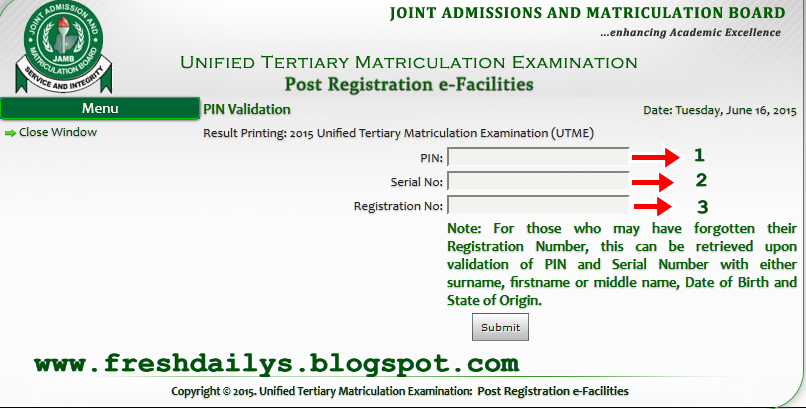 How to Check 2015/206 JAMB Result with E-Facility Card ~ Welcome To ...