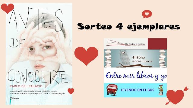 Sorteo Conj en El Búho entre libros, Leyendo en el bus, Entre mis libros y yo, y De lector a lector
