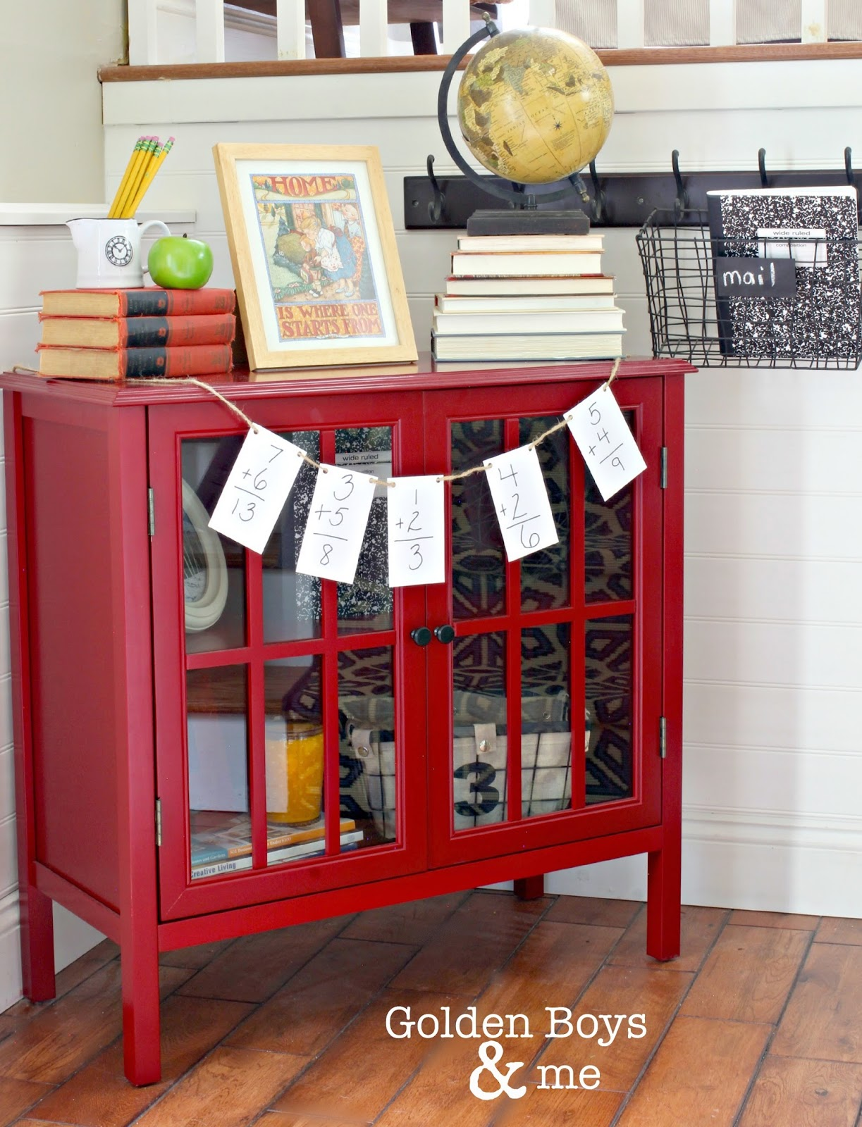 Back to school decor with Target Threshold Windham bookcase-www.goldenboysandme.com