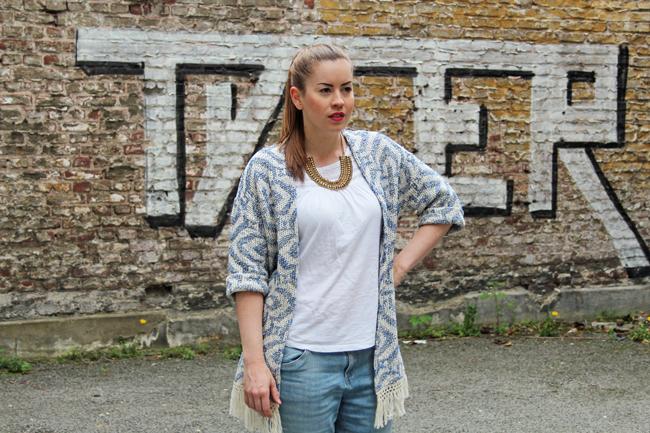 Jacquard-Kimono mit Fransen, Modeblog Köln, Modeblog, blauer Cardigan, Ethno-Cardigan, Boho-Cardigan