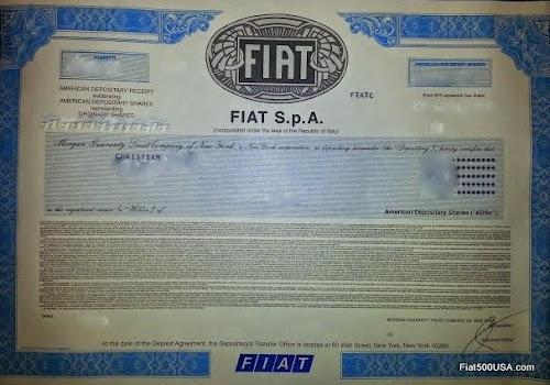 Fiat SpA Stock Certificate