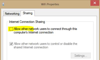 Kongsi WiFi Hotspot Windows 8