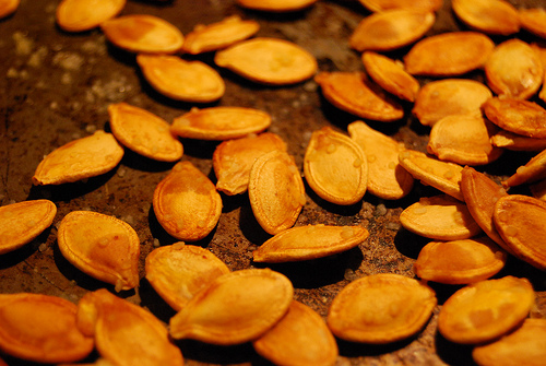 Pumpkin seeds being made at home