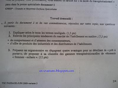 Examen de passage TSC V 3