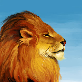 digital painting of a lion against a blue sky by Tony Mark