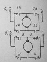 Якорь электродвигателя включается по схеме реверсивного прямоугольника