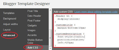 Add CSS code to Blogger template