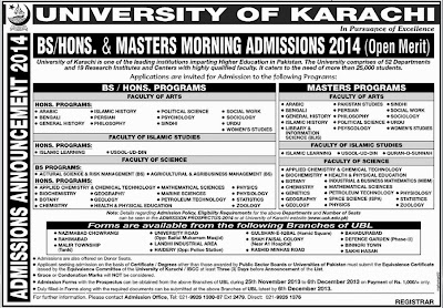 Uok Announced Admissions for BS/Hons. and Masters Programs (Morning) 2014