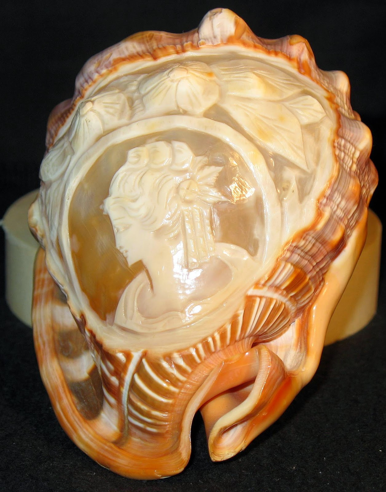 carnelian, conch shell, cameo, vintage, lady, flowers
