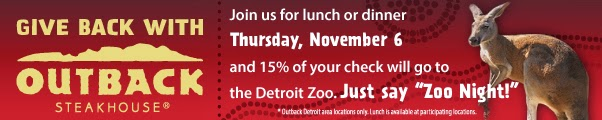 outback steakhouse, detroit zoo, Detroit, fundraiser, zoo, zoo night, giveaway