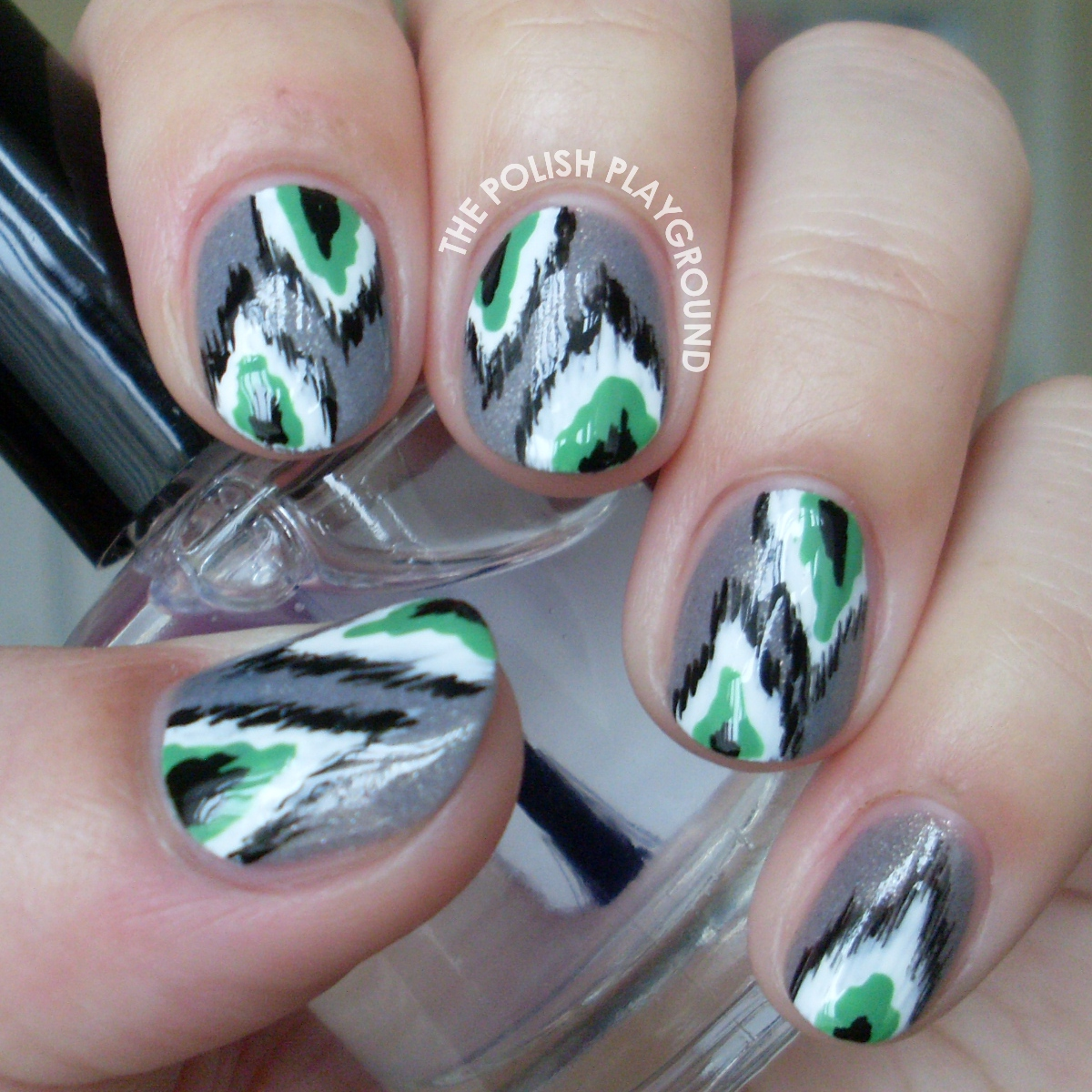 Grey and Green Ikat Print Nail Art