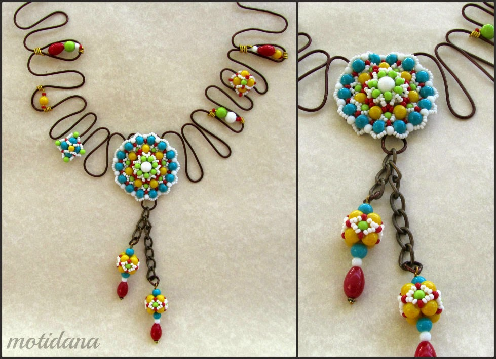 wire and bead kolam necklace