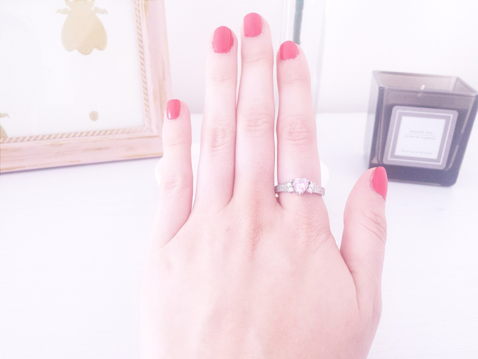 Jewel Candle Sterling Silver Pink Heart Diamante Ring