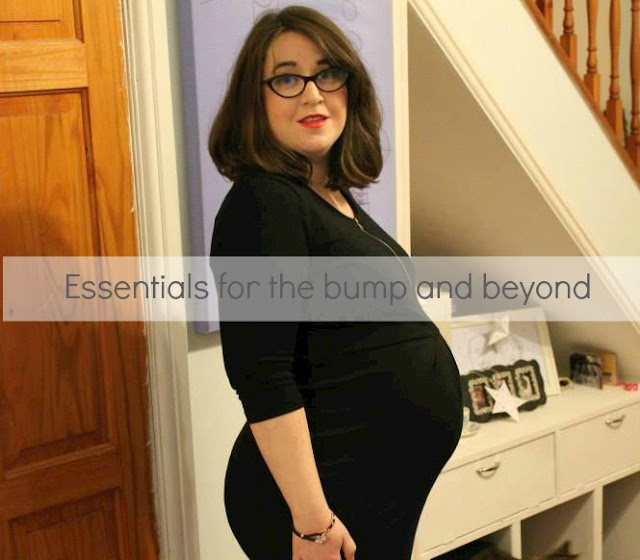 Heavily pregnant woman wearing tight black dress with text over 'essentials for the bump and beyond'