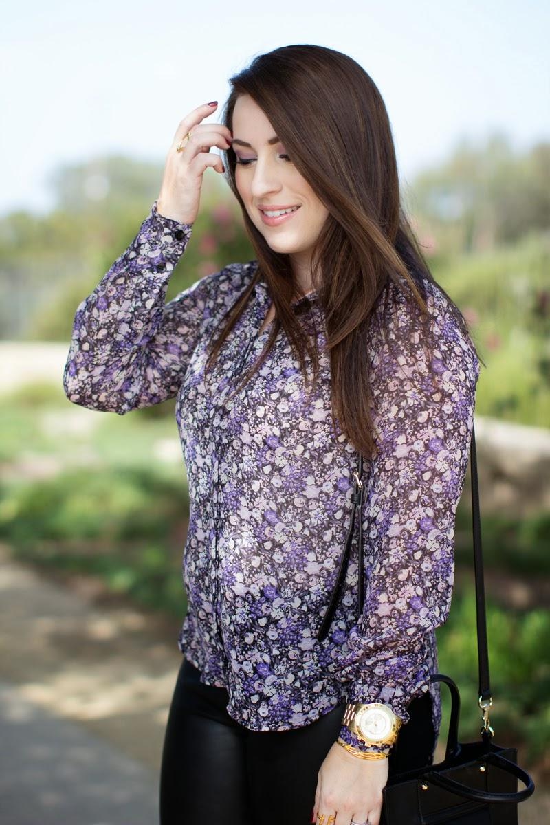 purple floral blouse le tote