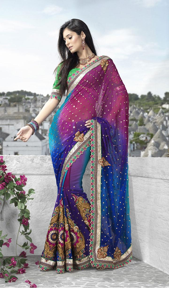 sari with allover golden bootis