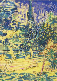 Expressive colour In this late watercolour of Stone Steps in the Hospital Garden (1889), the blue leaves and purple tree trunk reveal Vincent's aim to 'express myself forcibly' through the use of colour.